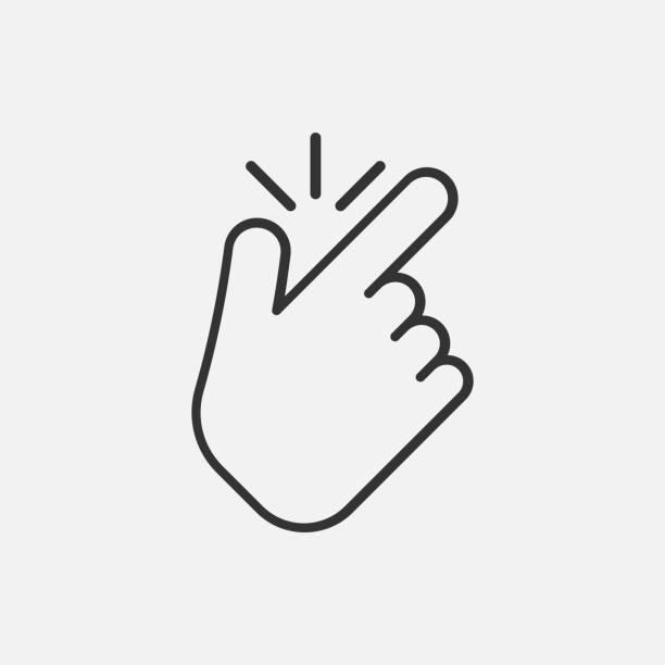 illustrazioni stock, clip art, cartoni animati e icone di tendenza di line snap finger like icon isolated on white background. vector illustration. - facilità
