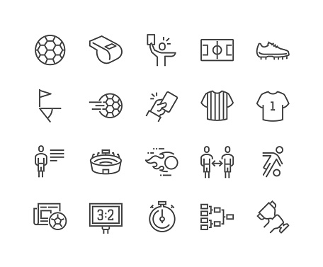 Line Soccer Icons