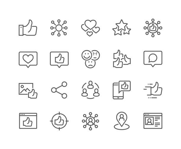 ilustrações de stock, clip art, desenhos animados e ícones de line social networks icons - questão social