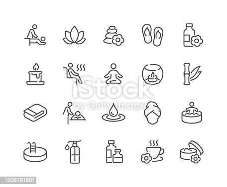 Simple Set of SPA Related Vector Line Icons.  Contains such Icons as Massage, Candle, Sauna and more. Editable Stroke. 48x48 Pixel Perfect.
