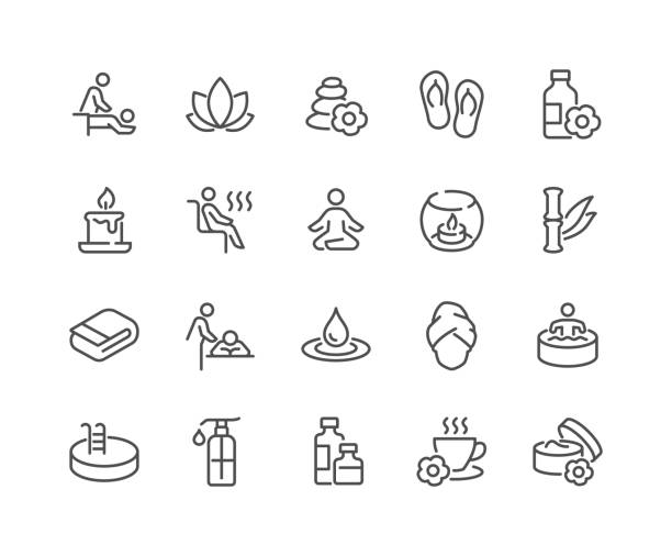 Line SPA Icons Simple Set of SPA Related Vector Line Icons.  Contains such Icons as Massage, Candle, Sauna and more. Editable Stroke. 48x48 Pixel Perfect. wellbeing stock illustrations