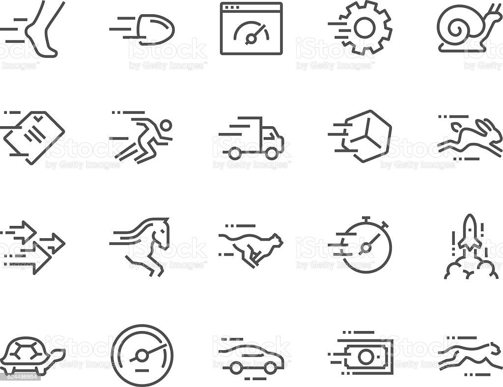 Line Speed Icons vector art illustration