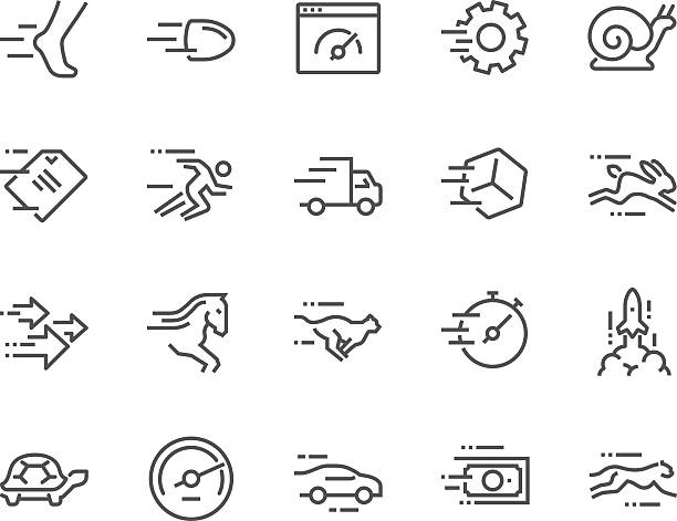 line speed icons - snail stock illustrations
