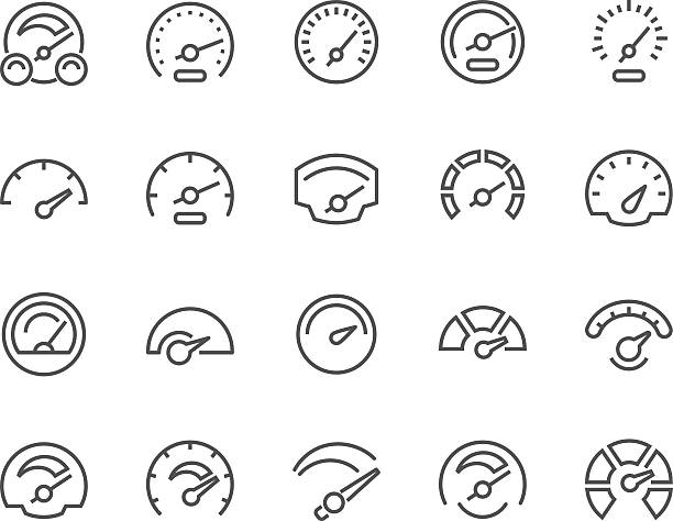 Line Speedometer Icons Simple Set of Speedometer Related Vector Line Icons. Contains such Icons as Car Speedometer, Odometer, Dashboard and more. Editable Stroke. 48x48 Pixel Perfect. dial stock illustrations