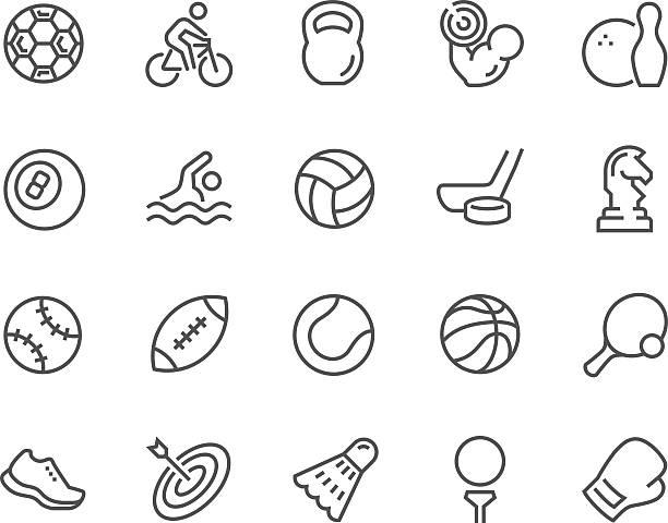 stockillustraties, clipart, cartoons en iconen met line sport equipment icons - netball