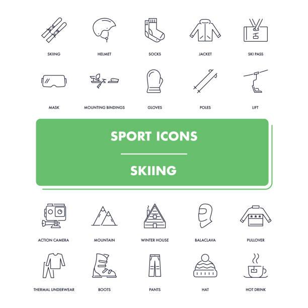 stockillustraties, clipart, cartoons en iconen met lijn sport iconen set. skiën - gopro