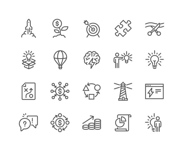 Line Startup Icons vector art illustration