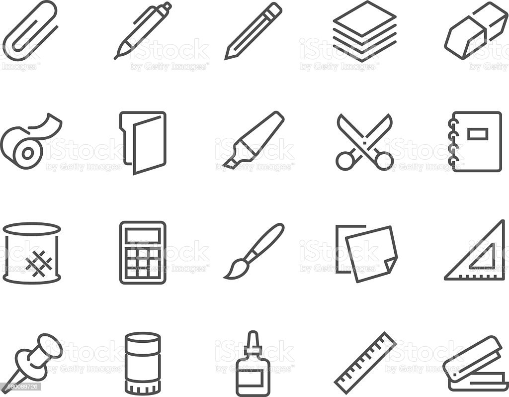 Line Stationery Icons vector art illustration