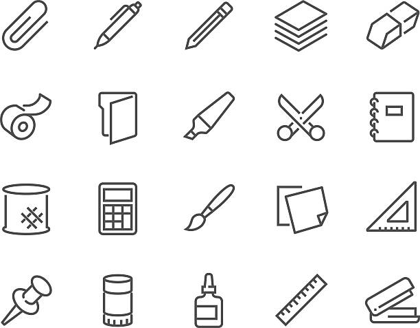 line stationery icons - 클립 문구류 stock illustrations