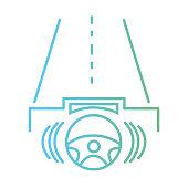 line steering wheel futuristic car in the road