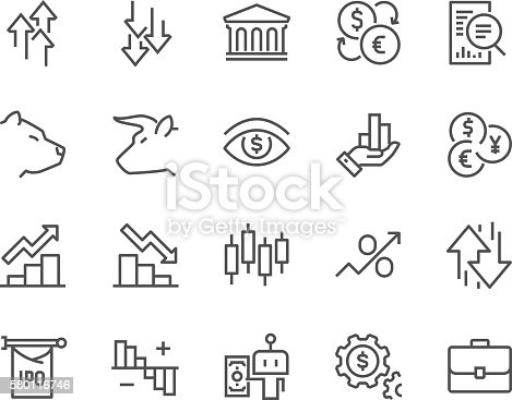 Simple Set of Stock Market Related Vector Line Icons. Contains such Icons as Gainers, Loosers, Bear, Bull, IPO, Currency Exchange and more Editable Stroke. 48x48 Pixel Perfect.