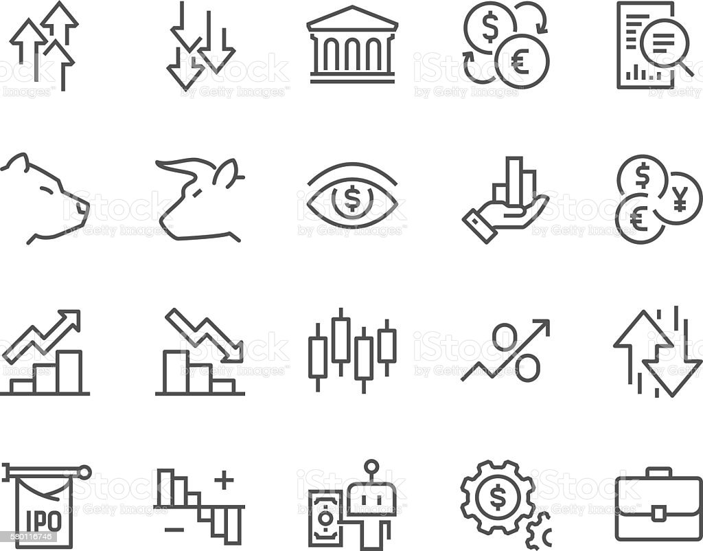 Line Stock Market Icons vector art illustration