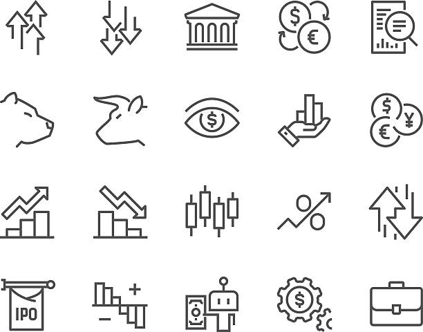 Line Stock Market Icons - Illustration vectorielle