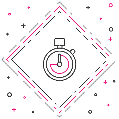 Line Stopwatch icon isolated on white background. Time timer sign. Chronometer sign. Colorful outline concept. Vector Illustration