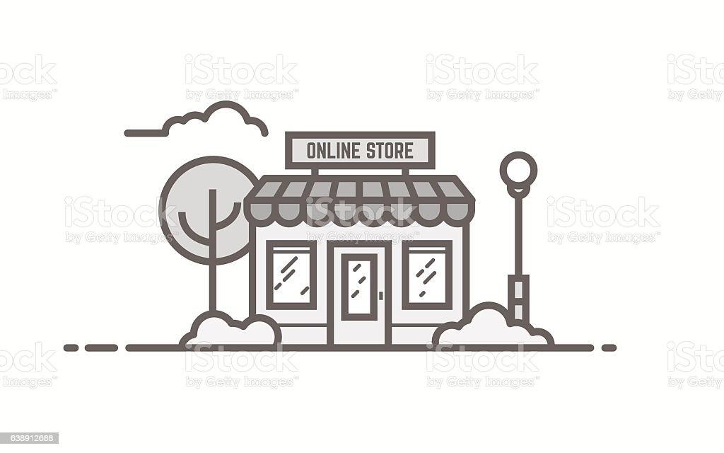 Line store illustration – Vektorgrafik