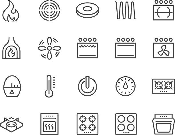 Line Stove Icons Simple Set of Stove Related Vector Line Icons. Contains such Icons as Timer, Heat, Gas, Induction, Electrical Stove and more. Editable Stroke. 48x48 Pixel Perfect. oven stock illustrations