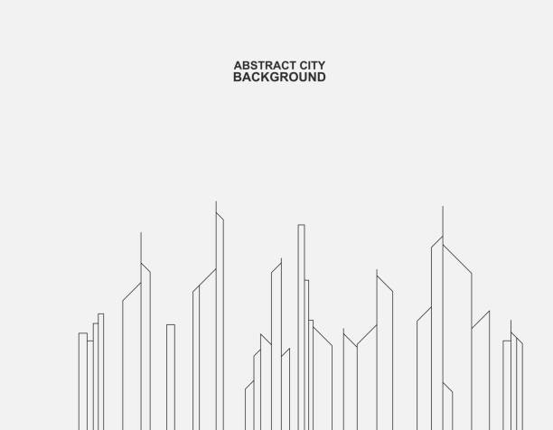 ライン構造の市建物の背景 - 都市 モノクロ点のイラスト素材/クリップアート素材/マンガ素材/アイコン素材