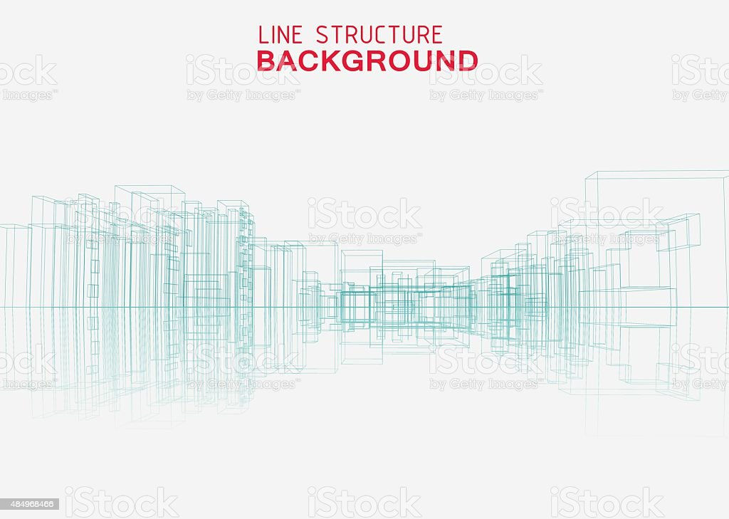 line structure city building background vector art illustration