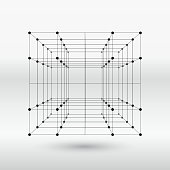 line structure cube.(ai eps10 with transparency effect)