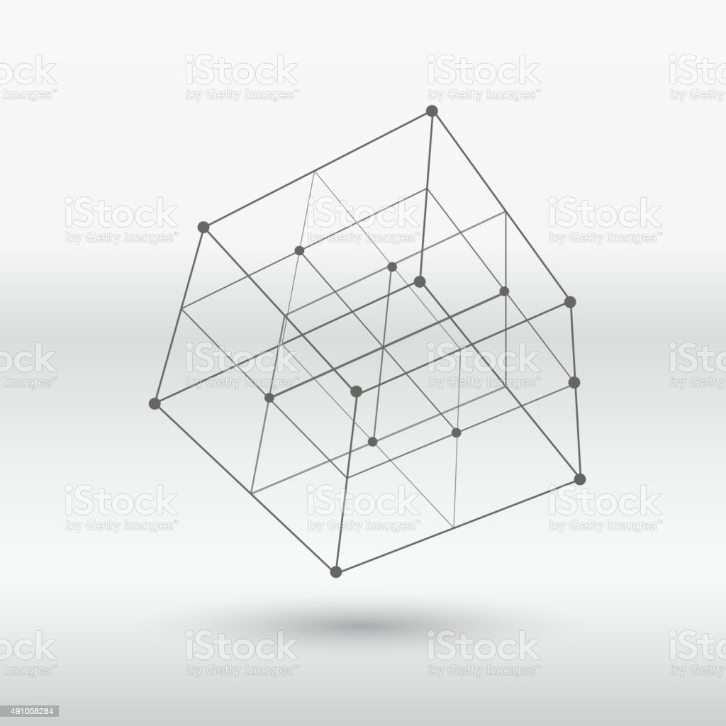 line structure cube vector art illustration