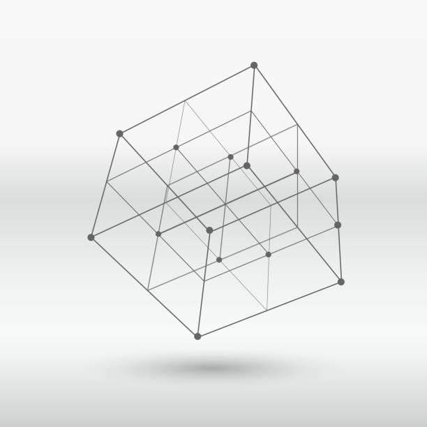 Estrutura do cubo linha - ilustração de arte em vetor