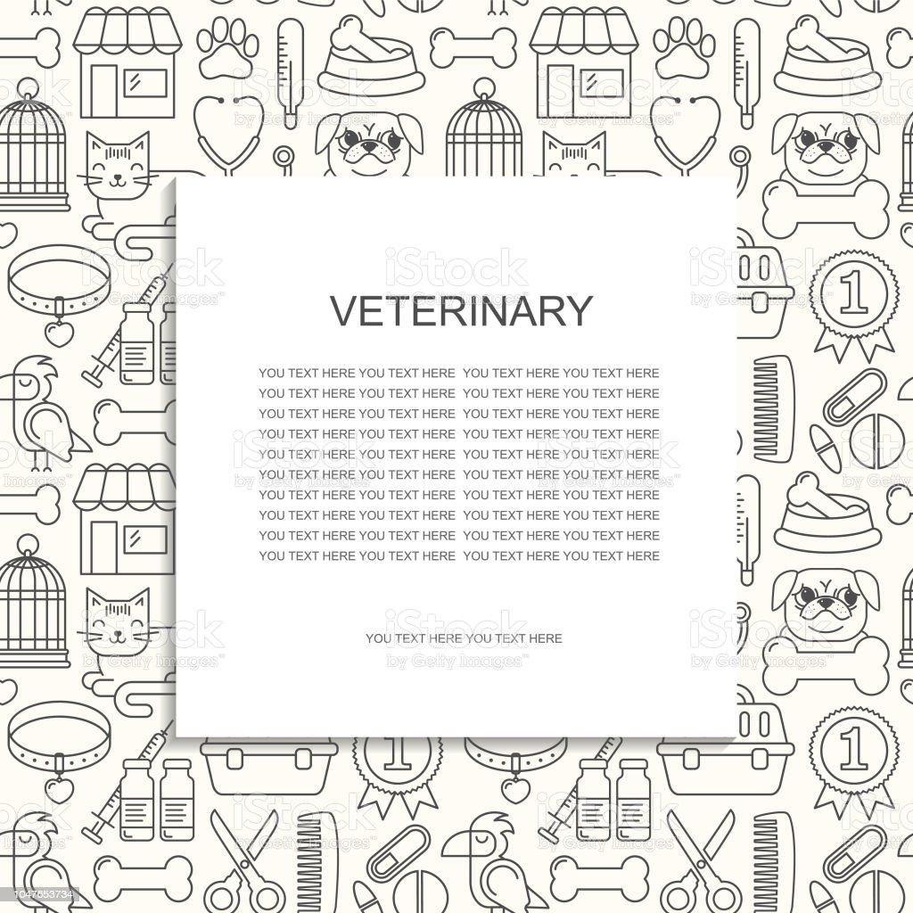 Line Style Schwarzweiß Vektorillustration Mit Haustiere Symbole