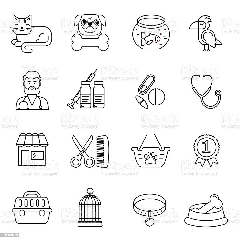 線條式黑白向量 pet 和獸醫圖示設置。 貓, 狗, 鳥和魚線性符號。例證與物品為動物。 - 免版稅剪裁圖圖庫向量圖形