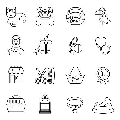 선 스타일 흑백 벡터 애완 동물과 수 의사 아이콘 세트 고양이 개 새 및 물고기 선형 기호 동물을 위한 상품으로 그림입니다 강아지-어린 동물에 대한 스톡 벡터 아트 및 기타 이미지