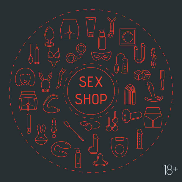 Line style circle frame with sex toys . Line style circle frame with sex toys . Vector illustration. sensuality stock illustrations