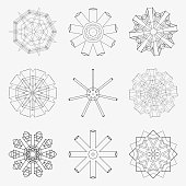 Vector illustration 9 line style circle pattern icon.