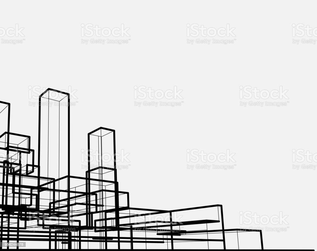 line style city architecture structure vector art illustration