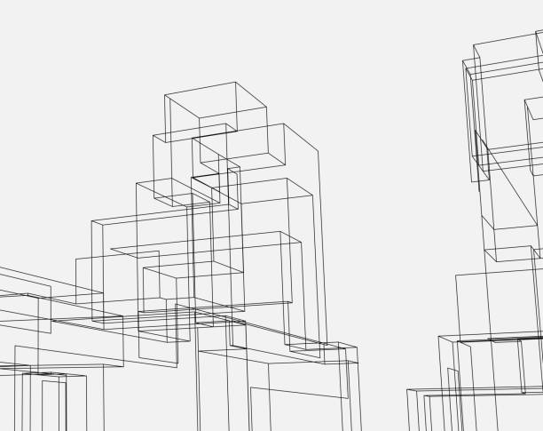 line style city architecture structure - abstract architecture stock illustrations