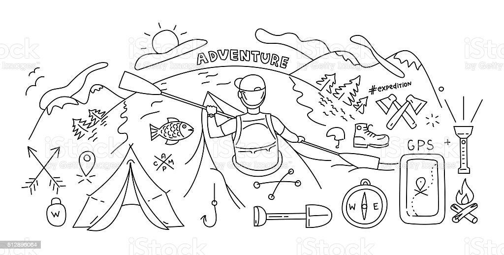 Ilustración de Concepto De Diseño Línea Estilo De Actividades ...