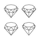 Line Style Diamond Crystal Set on White Background. Vector Illustration