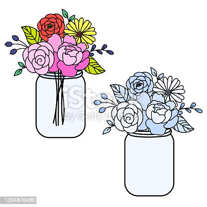 Line style floral bouquet in a maison jars vector illustration. Flower bouquet in a vase.