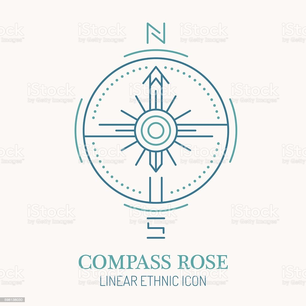 Line style nautical wind rose illustration, - Illustration vectorielle