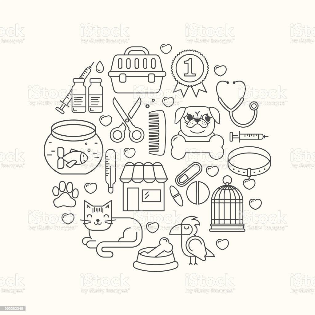 Ligne style pastel noir et blanc vecteur rond illustration forme avec des icônes d'animaux de compagnie. Modèle linéaire EFP sur blanc. Ligne style fond de vétérinaire. Produits pour chiens et chats. - clipart vectoriel de Aliment libre de droits