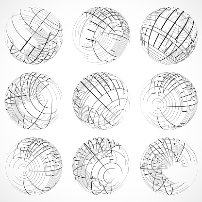 Line style sphere pattern icon collection for design