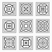 Line Style Square Pattern Icon Collection
