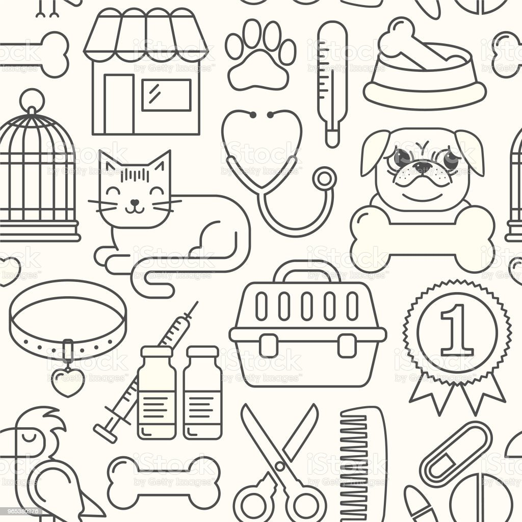 Line style vector seamless illustration with pets. Linear vet pattern on pink. Line style veterinarian background. Goods for animals. line style vector seamless illustration with pets linear vet pattern on pink line style veterinarian background goods for animals - stockowe grafiki wektorowe i więcej obrazów białe tło royalty-free