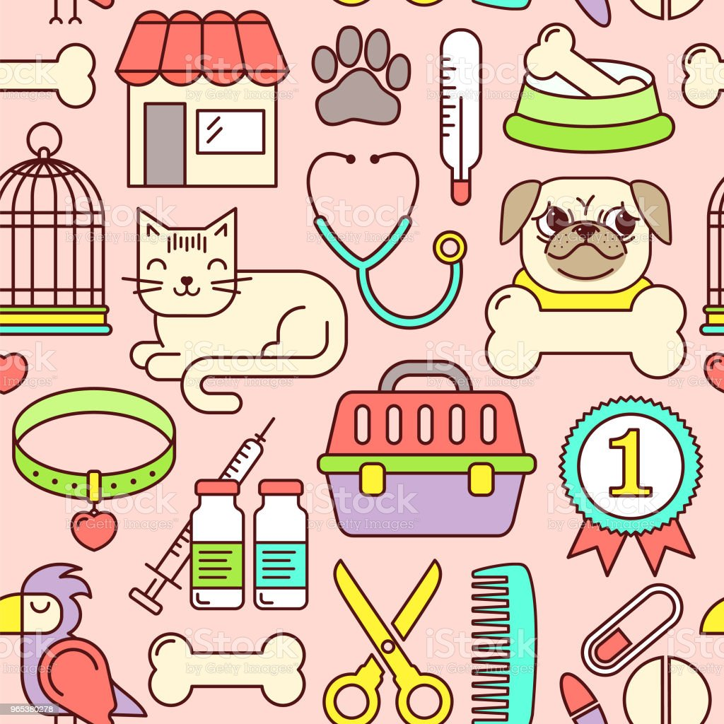 Line style vector seamless illustration with pets. Linear vet pattern on pink. Line style veterinarian background. Goods for animals. royalty-free line style vector seamless illustration with pets linear vet pattern on pink line style veterinarian background goods for animals stock vector art & more images of animal