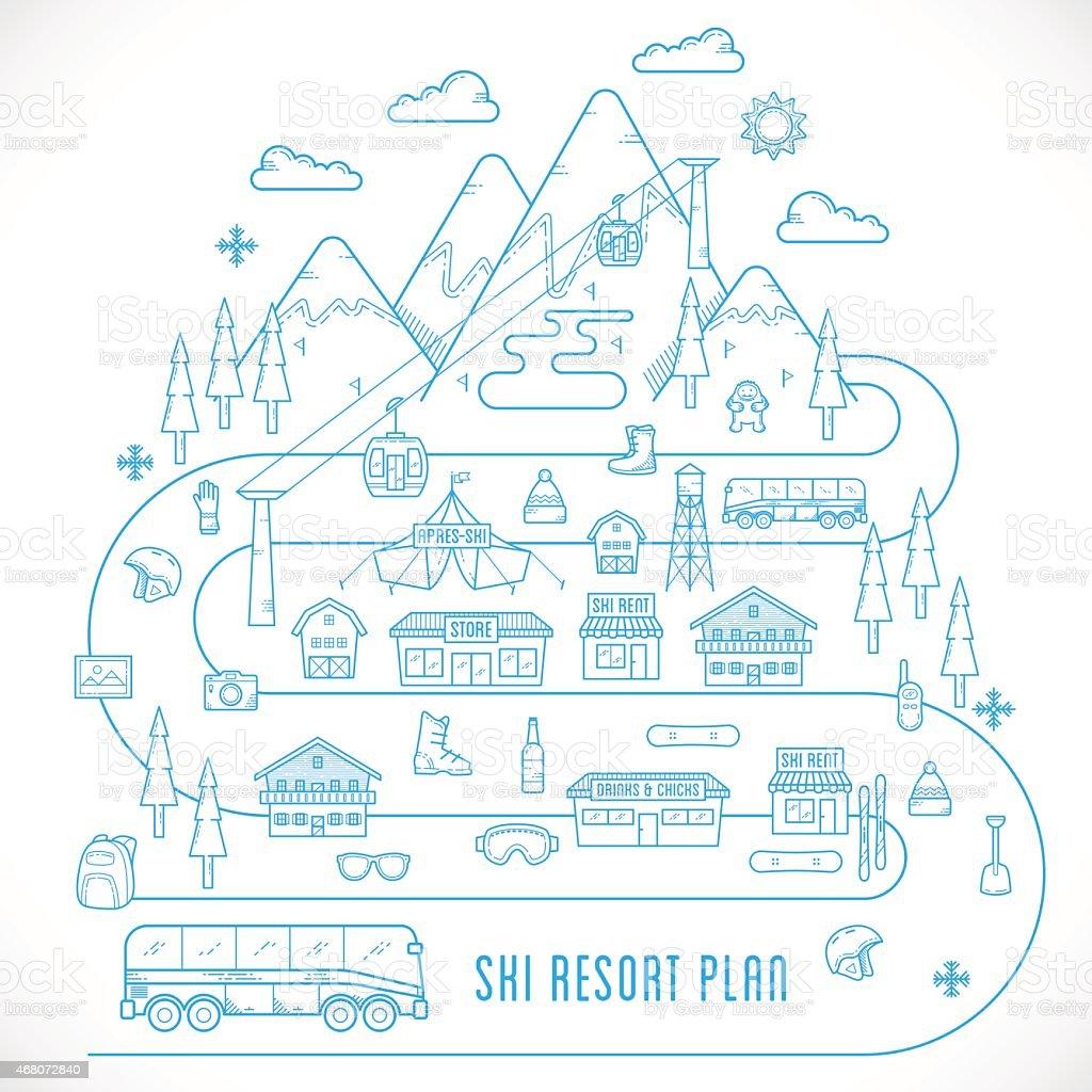 Line Style Vector Ski Resort Vacation Illustration vector art illustration