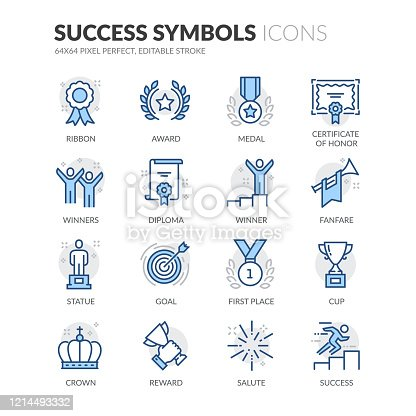 Simple Set of Success Related Vector Line Icons.  Contains such Icons as Ribbon, Winner, Reward and more. Editable Stroke. 64x64 Pixel Perfect.