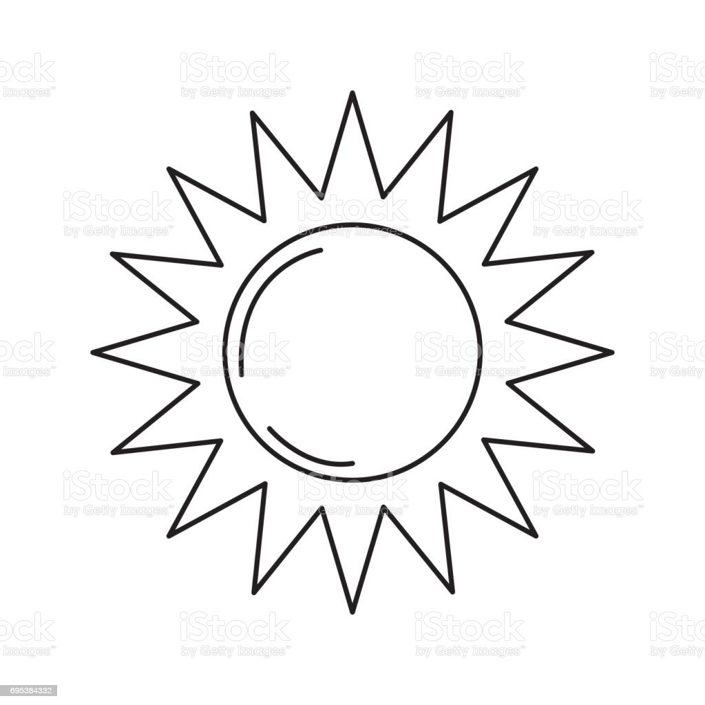 Line Drawing Sun : Line sun light to sunny weather on vacation stock vector