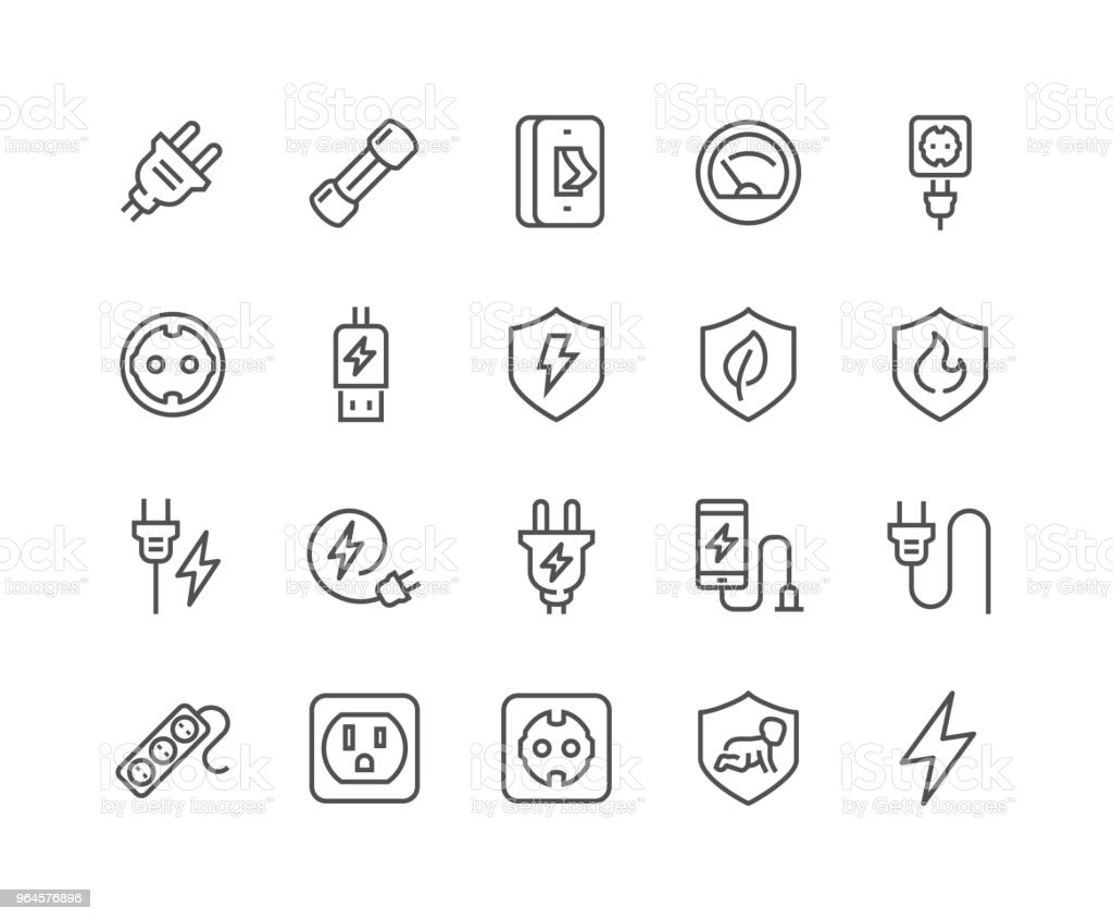 Line Surge Protector Icons royalty-free line surge protector icons stock illustration - download image now