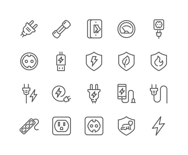 Line Surge Protector Icons Simple Set of Surge Protector Related Vector Line Icons. Contains such Icons as American European Socket, USB Charge, Child Protection and more. Editable Stroke. 48x48 Pixel Perfect. stiff stock illustrations