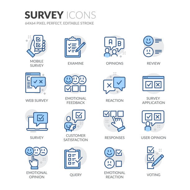 Line Survey Icons Simple Set of Survey Related Vector Line Icons.  Contains such Icons as Review, Customer Opinion, Web Survey and more. Editable Stroke. 64x64 Pixel Perfect. survey icon stock illustrations