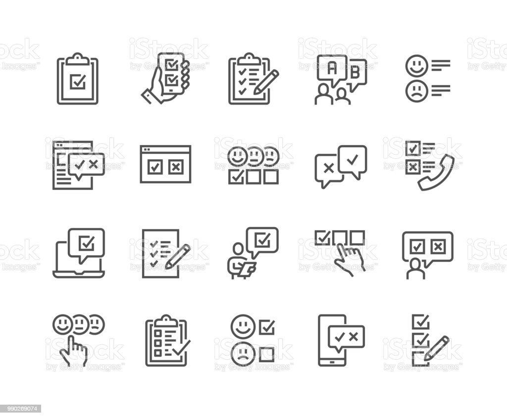 Linie-Umfrage-Symbole – Vektorgrafik