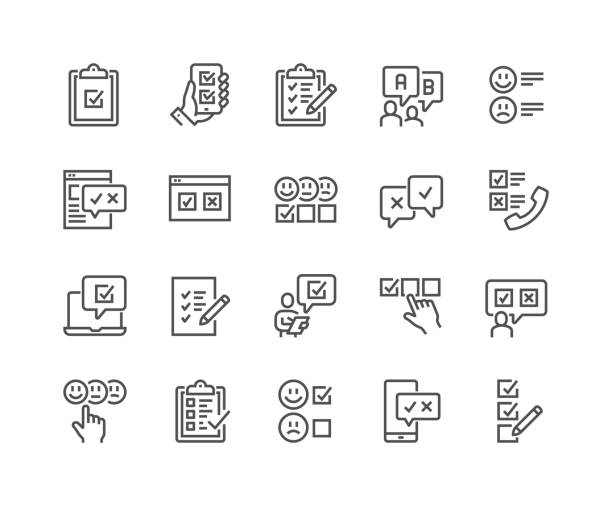 Line Survey Icons Simple Set of Survey Related Vector Line Icons. Contains such Icons as Emotional Opinion, Rating, Checklist and more. Editable Stroke. 48x48 Pixel Perfect. form document stock illustrations