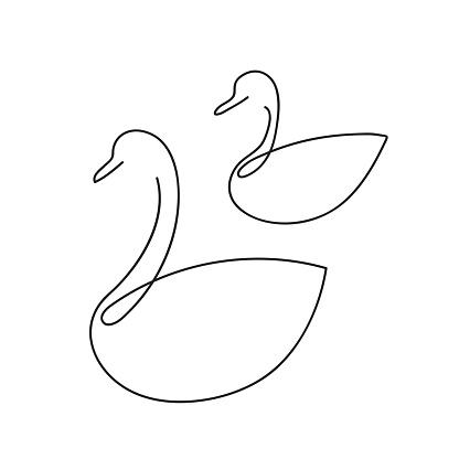 Line swan, duck outline